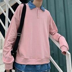 Autumn Hoodies Men Fashion Denim Stitching Fake Two-piece Pullover Streetwear Hoodie Men Loose Hip Hop Sweatshirt Man Hoody