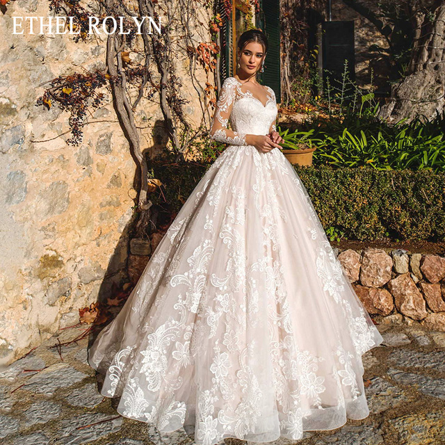 ETHEL ROLYN Pink Long Sleeve Wedding Dresses 2020 Vestido De Noiva Romantic Appliques Button Illusion Princess Wedding Gowns New