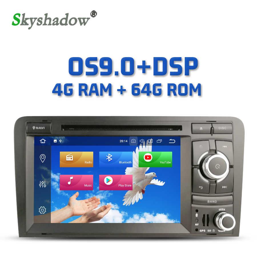 IPS Núcleo DSP Android 9.0 8 4GB + 64GB Carro DVD Player RDS Radio Wifi Bluetooth 4.2 Para audi A3 2002-2011 S3 RS3 RNSE-PU