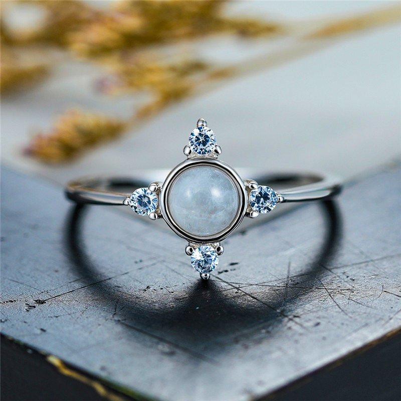 Cute Female Small Round Moonstone Ring 100% Real 925 Sterling Silver Engagement Ring Vintage Wedding Rings For Women