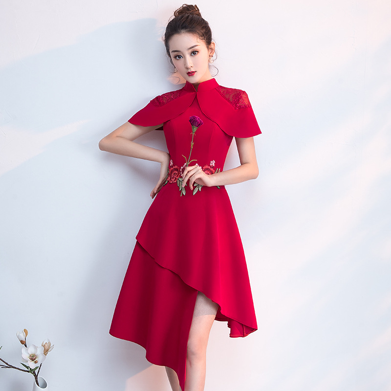 Mandarin Collar Oriental Style Banquet Dresses Chinese Vintage Traditional Wedding Cheongsam Elegant Evening Party Gowns