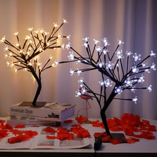 48 LEDs Tree Lamp Cherry Blossom Tree Lamp Table Lamp Night Light Indoor Bedroom Wedding Party Bar Decoration Bedside Lamp