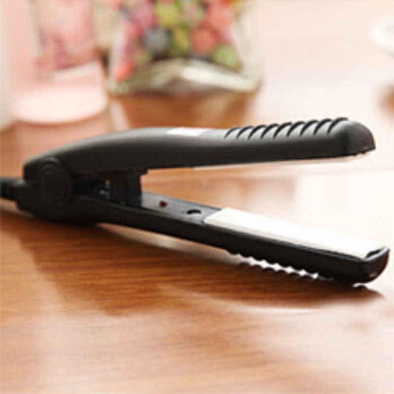 Ferro perm splint turmalina eua plug curling ferros ferramentas de estilo mini cerâmica cuidados com o cabelo curl straightener plana