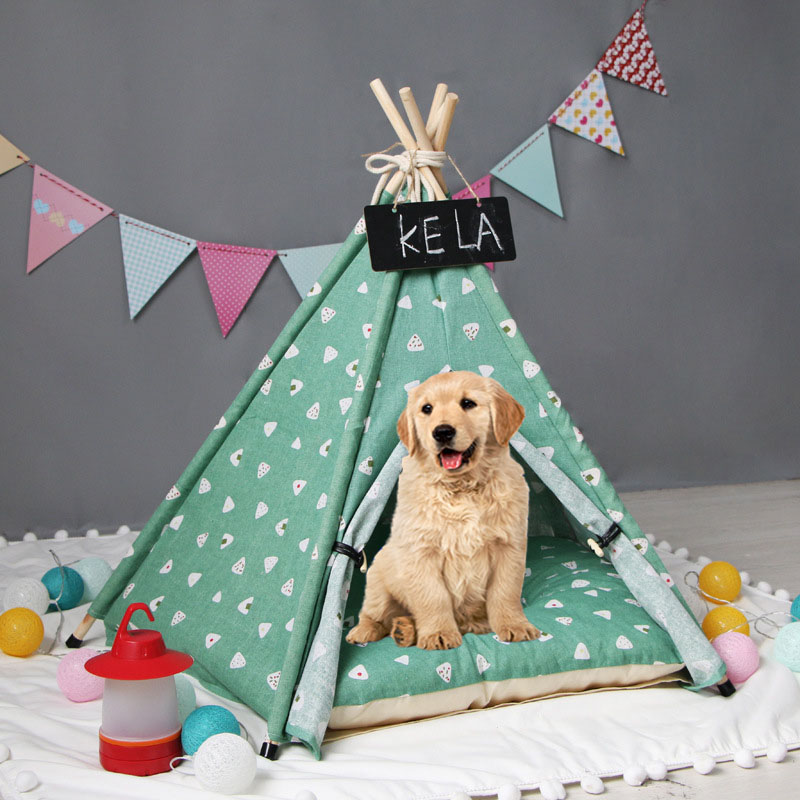 Green Pet House Foldable Cat Tent <font><b>Dog</b></font> House Bed Puppy Teepee Sleeping Mat Portable <font><b>Dog</b></font> Tent Crate Pets <font><b>Kennels</b></font> домик для собак image