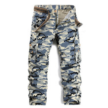 [EL BARCO] 2017 ניו כותנה הסוואה גברים מכנסיים מטען צבאי צבא הכחול ירוק רך לנשימה סתיו זכר בד Jogger מכנסיים
