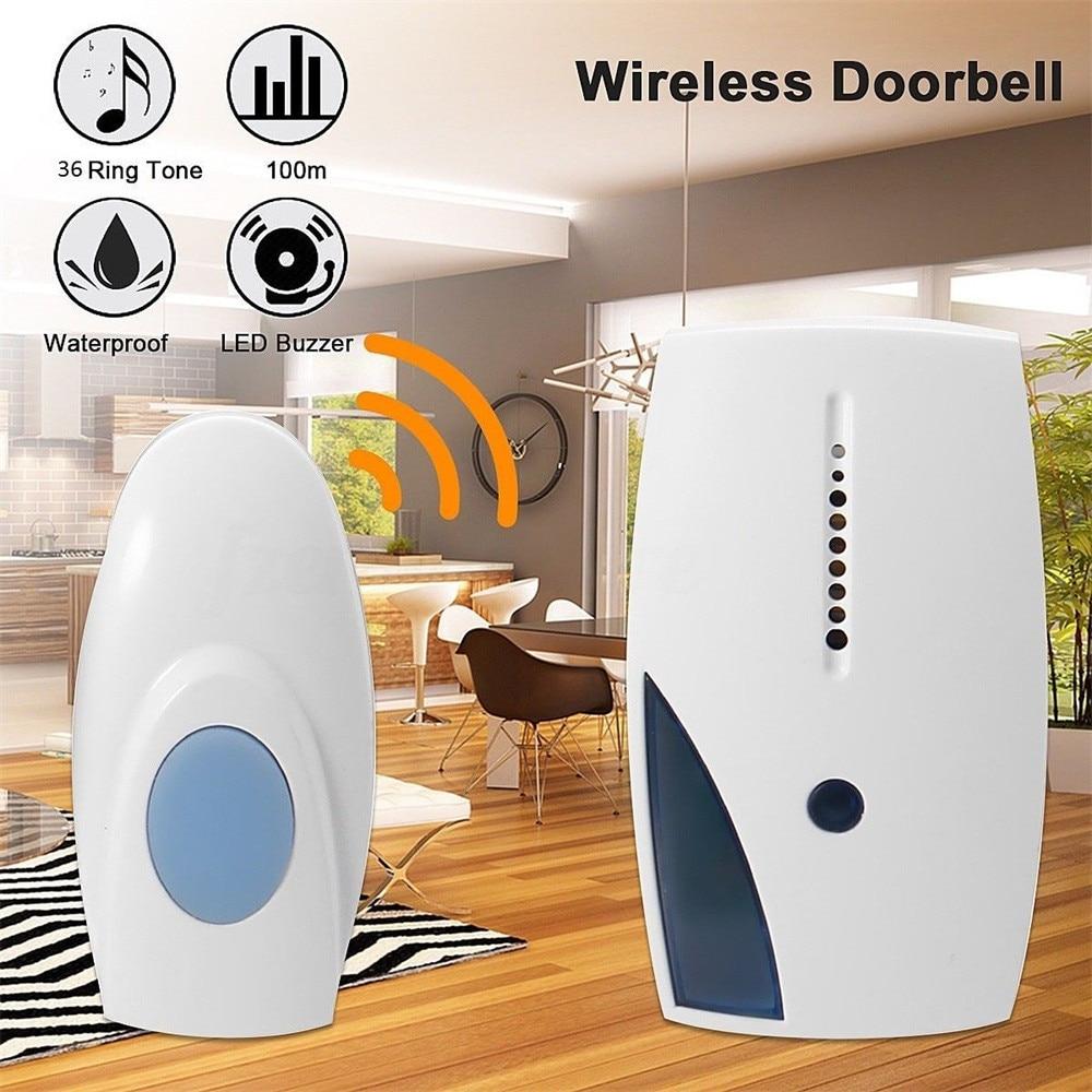 New Wireless Cordless Digital Door Bell 36 different chimes Range 100m