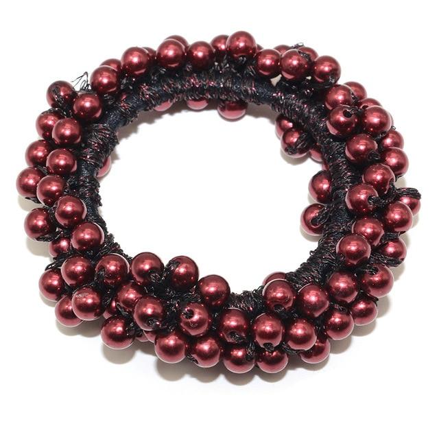 14 Colors Woman Elegant Pearl Hair Ties Beads Girls Scrunchies Rubber Bands Ponytail Holders Hair Accessories Elastic Hair Band 4