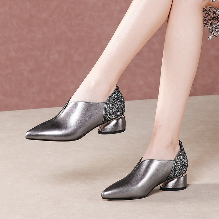 MLJUESE 2020 Women Pumps Autumn Spring Soft Cow Leather Pointed Toe Slip On Round Heel High Heels Lady Shoes Party Size 42