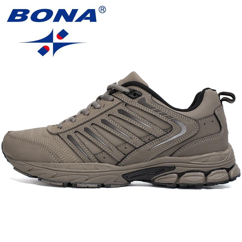 BONA Brand Autumn Winter Sport Shoes Men Low-tops Fleece Outdoor Jogging Walking Sneakers Comfortable Running Shoes