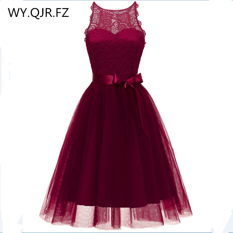 CD-1644J#Short Bridesmaid Dresses Yarn Burgundy Pink Dark blue Wedding Party Prom Dress Sisters regiment girls Cheap Wholesale