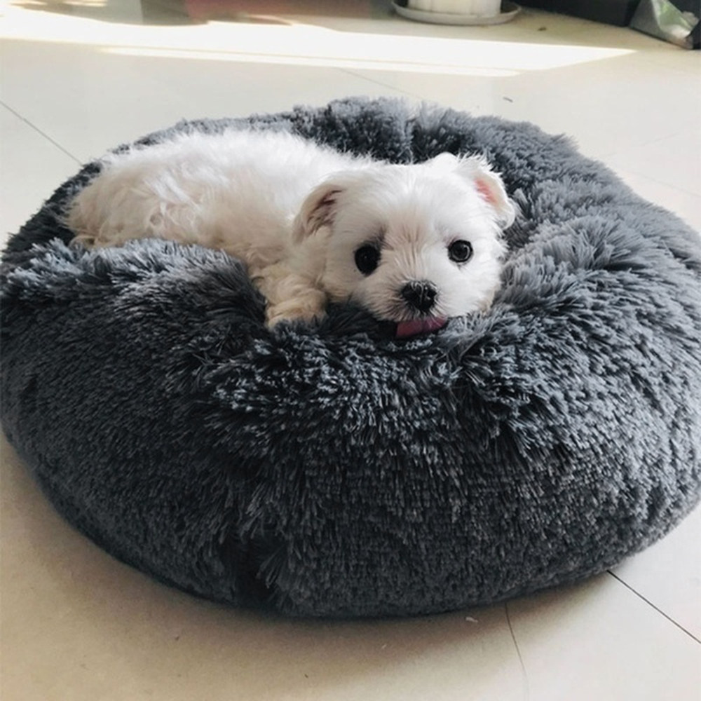 Super Soft Pet Bed Kennel Dog Round Cat Winter Warm Sleeping Bag Long Plush Puppy Cushion Mat Portable Cat Supplies