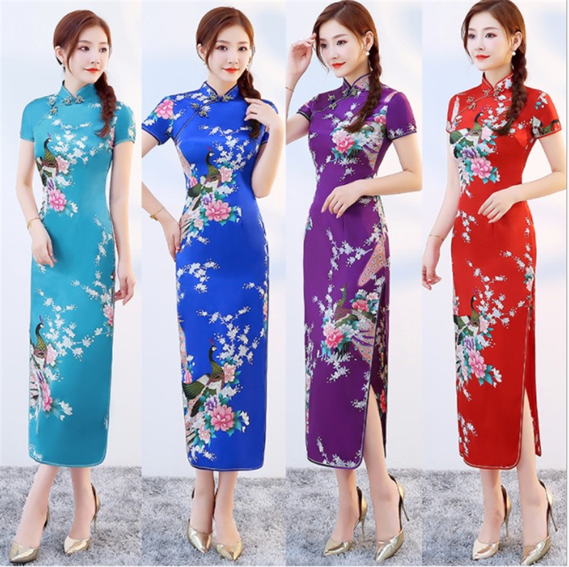 Chinese Cheongsam Traditional Costumes Women Tight Bodycon Dress Qipao Tang Suit Crane Print Split Dress Sexy Asian Kimono