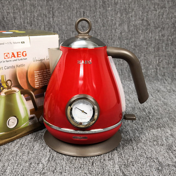 220V Electric Kettle With Water Thermometer Household 304 Stainless Quick Heating Retro Electric Boiling Tea Pot 1.7L