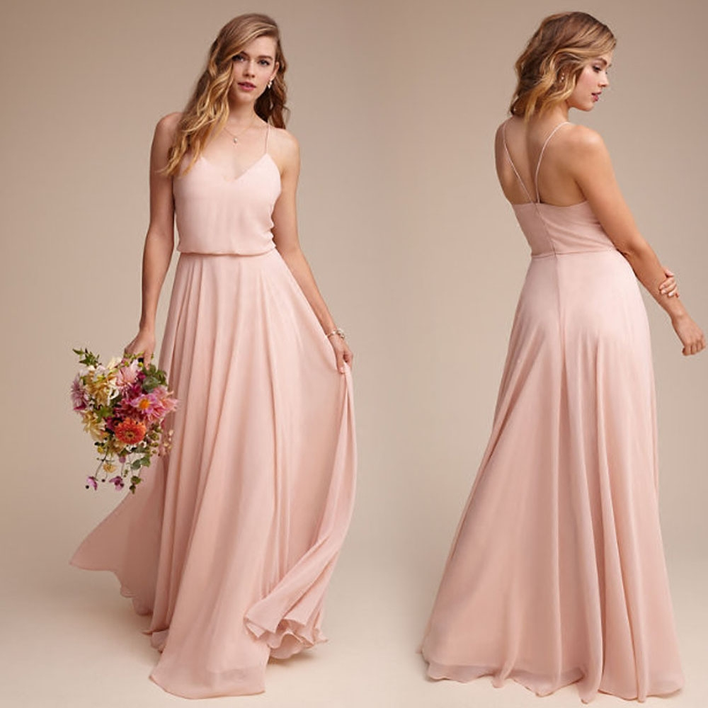 New Arrival Elegant Pink Chiffon Bridesmaid Dresses 2019 Long A Line V Neck Floor Length Wedding Party Porm Women Dresses