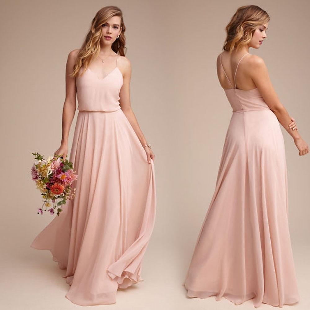 New Arrival Elegant Pink Chiffon Bridesmaid Dresses 2019 Long A Line V Neck Floor Length Wedding Party Porm Women Dresses