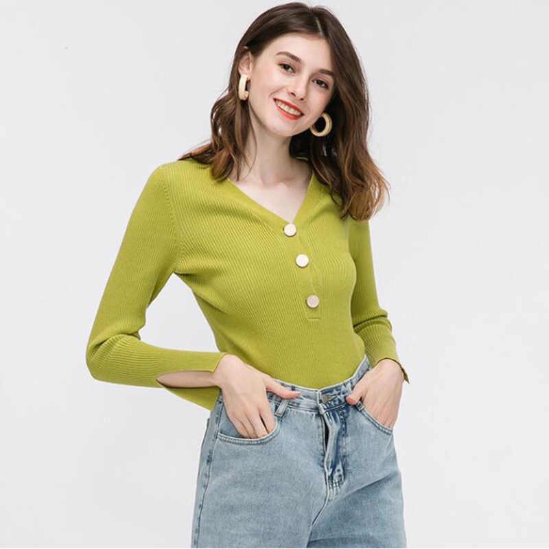 V neck kobiety zima popularne sweter Plus rozmiar jesień wełny Simplee dzianiny luźna, slim w europejskim amerykańskim stylu długa koszula Top