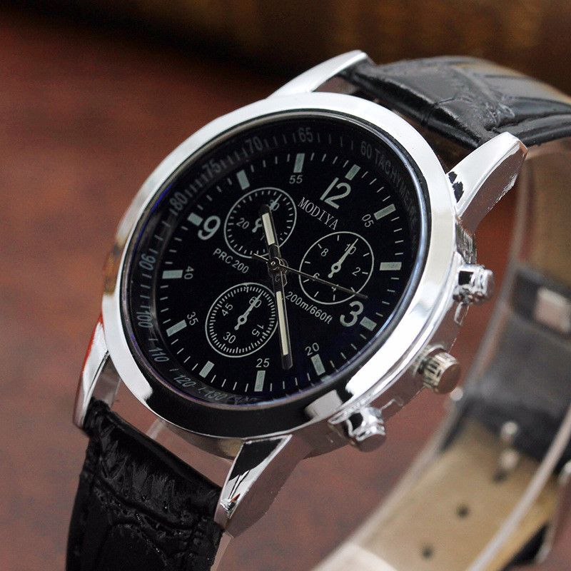 Man Watch Belt Sport Quartz Hour Three Eyes Wrist Analog Watch horloges mannen montre homme 2019 luxe de marque uhren herren