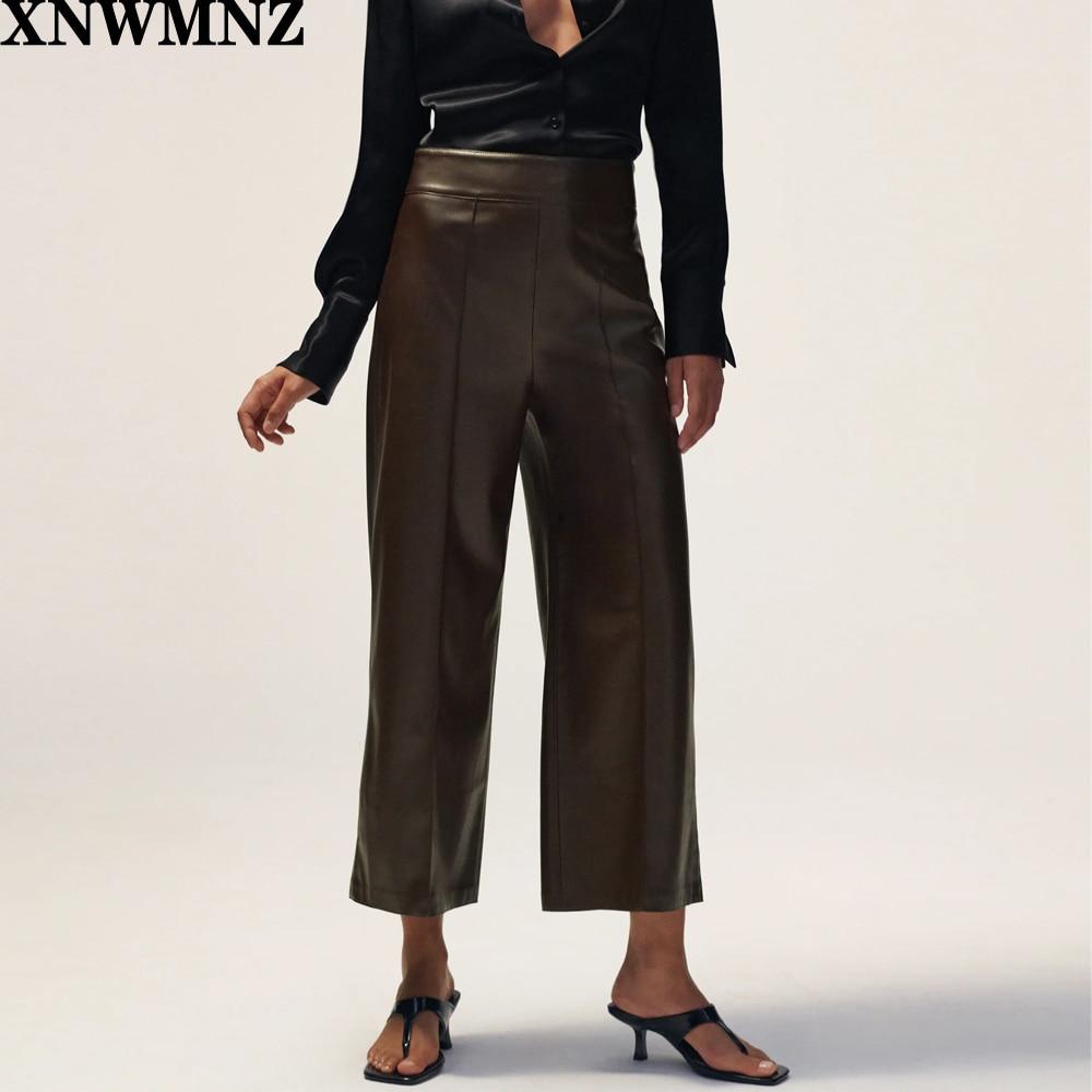 XNWMNZ Za femmes culottes en simili cuir mode couture Visible pantalon à jambes larges Vintage taille haute fermeture éclair latérale femme pantalon Mujer