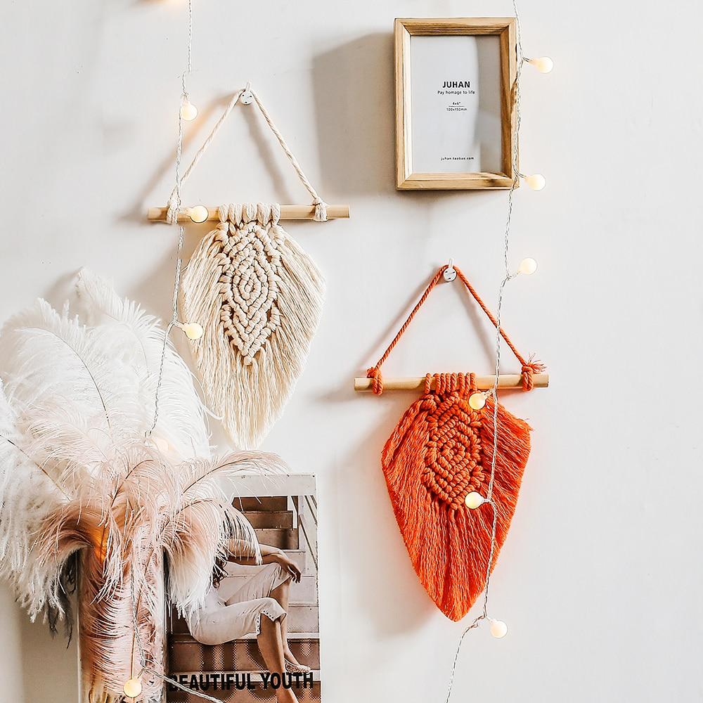 Mini Leaf Tapestry Macrame Wall Hanging Boho Decoration Nursery Home-stay Dorm Apartment Bedroom Headboard Home New Year Decor