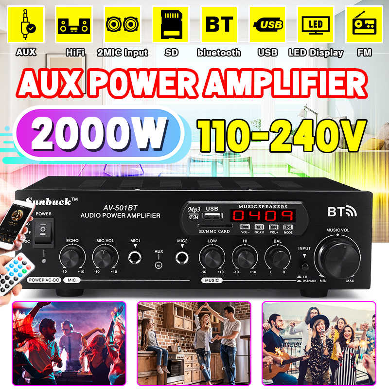 Bluetooth 2.0 HI FI 1200W 220 V/110 V Audio Power Amplifier Speaker 4 Mikrofon Remote Control Mendukung FM usb Kartu SD 2 MIC Input
