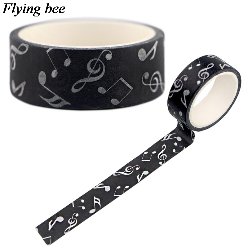 Flyingbee 15mmX5m Musical Notes Washi Tape Paper DIY Decorative Adhesive Tape Stationery Fashion Masking Tapes Supplies X0551