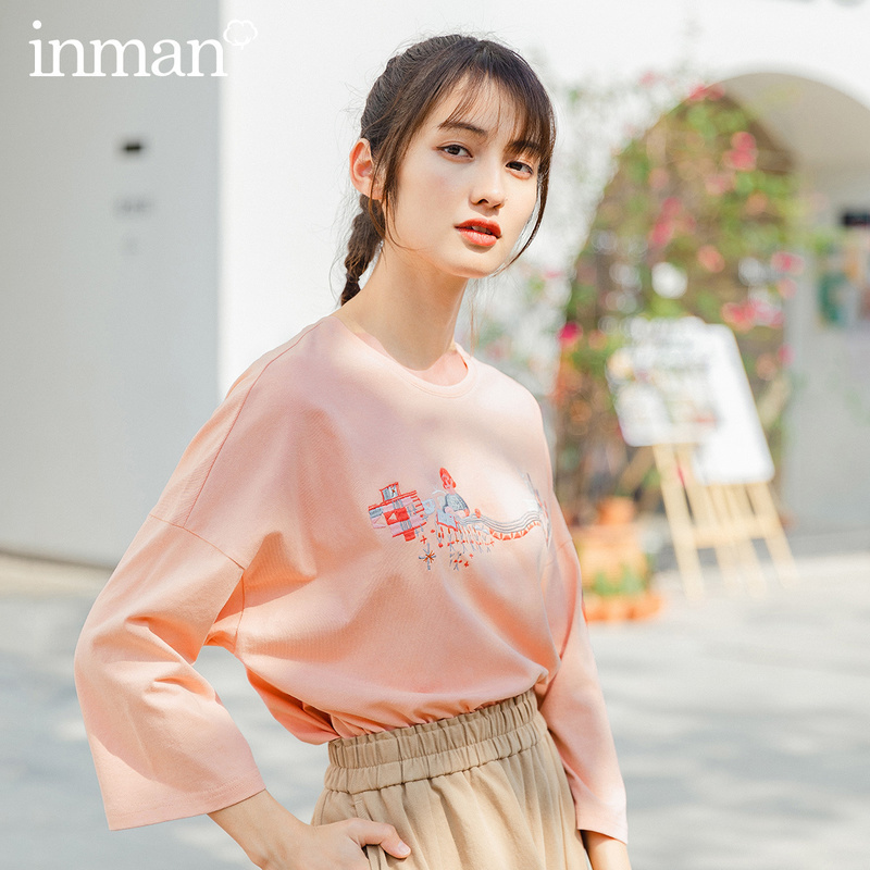 INMAN 2020 Summer New Arrival Pure Cotton Embroidered Literary Fashion Leisure Half Sleeve T-shirt