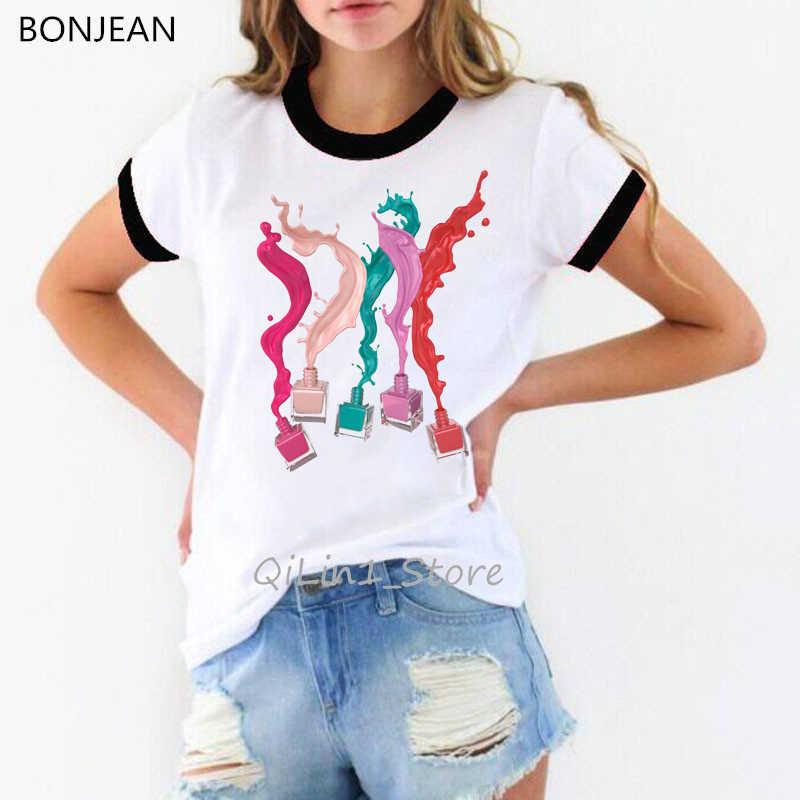 Vrouwen kleding 2019 aquarel nagellak print vogue t-shirt harajuku kawaii t-shirt femme hip hop shirt streetwear ringer tee