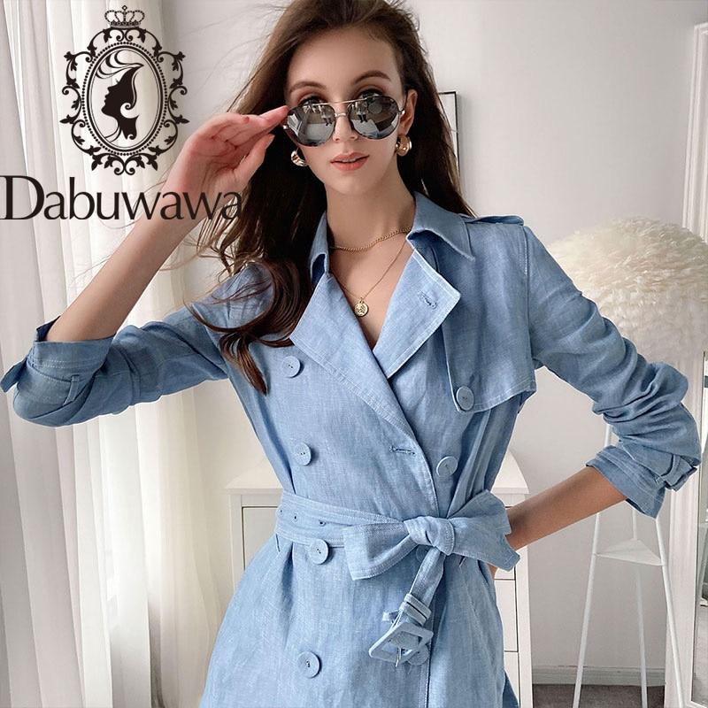 Купить dabuwawa винтажный двубортный тренчкот женский однотонный длинный