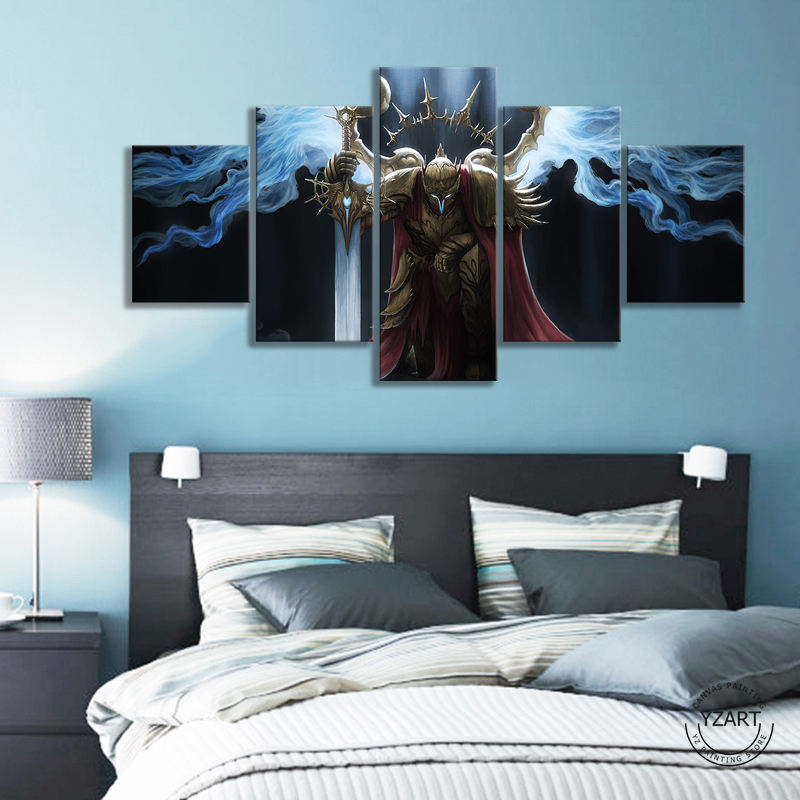 HD Fantasy Art Wall Picture Fantasy Warrior Sword Wings Knight Templar Poster Artwork Canvas Painting Wall Art Home Decor 2