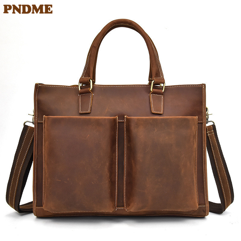 PNDME Simple Retro Handmade High Quality Genuine Leather Men's Briefcase Crazy Horse Leather Messenger Bags Business Laptop Bag