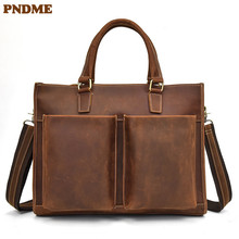 PNDME simple retro handmade high quality genuine leather mens briefcase crazy horse messenger bags business laptop bag
