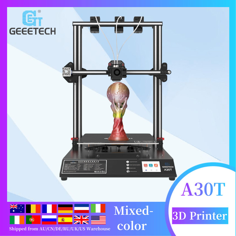 Geeetech Offcial A30T auto leveling mix color 3d printer, Large Printing Area 320*320*420mm, Quick Assembly, 3d printing, DIY