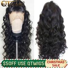 QT 180 объемная волна 360 Синтетические волосы на кружеве al парик предварительно вырезанные с детскими волосами бразильские 13x4 Синтетические волосы на кружеве человеческих волос парики 13X6 глубокий часть синтетические волосы Remy