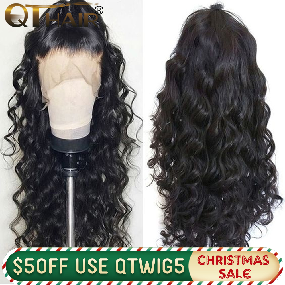QT 180 Body Wave 360 Lace Frontal Wig Pre Plucked With Baby Hair Brazilian 13x4 Lace Front Human Hair Wigs 13X6 Deep Part Remy
