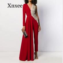 elegent Spring Summer Women Skinny Jumpsuits luxury  V-Neck Full Sleeve Patchwork Color Rompers Sexy Night Club One Piece Outfit