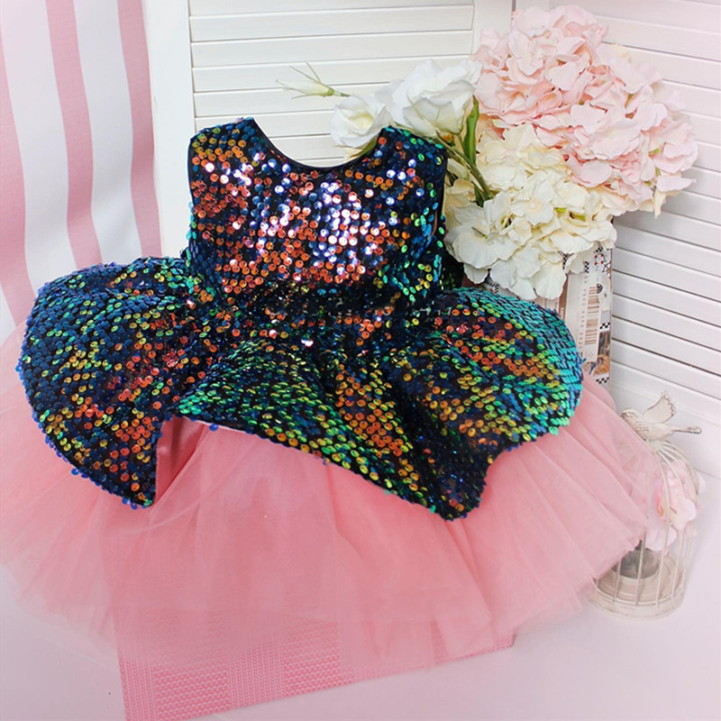 Glitter Sequines Baby Girls Birthday Party Dresses O Neck Princess Knee Length Pageant Prom Gowns New Year 1-14Y