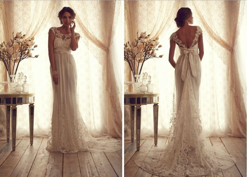 Lace A-line Sheer Lace Backless Empire Summer Beach Vintage Bridal Gown With Appliques Sash Bow Mother Of The Bride Dresses