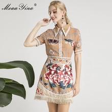 MoaaYina Designer Runway Set Summer Women Short sleeve Angel Floral Print Beaded Vintage Shirt+Tassel Crystal Diamond Skirt