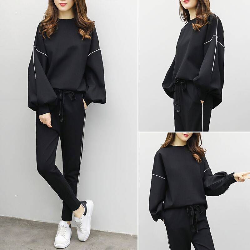 DEAT 2019 Autumn Women Fashion Suits Female Long Flare Sleeve Tops Elastic Waist Pants Casual Loose Outfits Tracksuits MG735 25