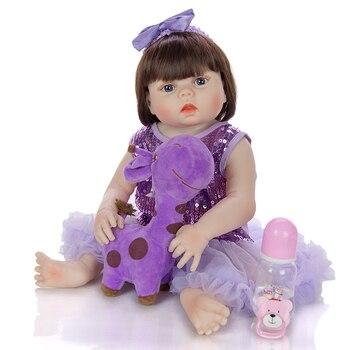 New 55cm All Silicone Body bebe Reborn baby Girl Doll  Lifelike DIY  Newborn Princess Toddler Toy Bonecas Waterproof gift