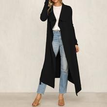 Sobretudo Sale Abrigo Mujer 2019 European And American Lapel Coat Cardigan Jacket Fat Mm Slim Slimming Long Loose Women Coats