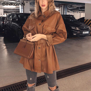 NANKEY Women Brown Soft Leather Jacket Dress Medium Length Slim Faux PU Leather Coats Elegant Tie Belt Waist Pockets Outfits