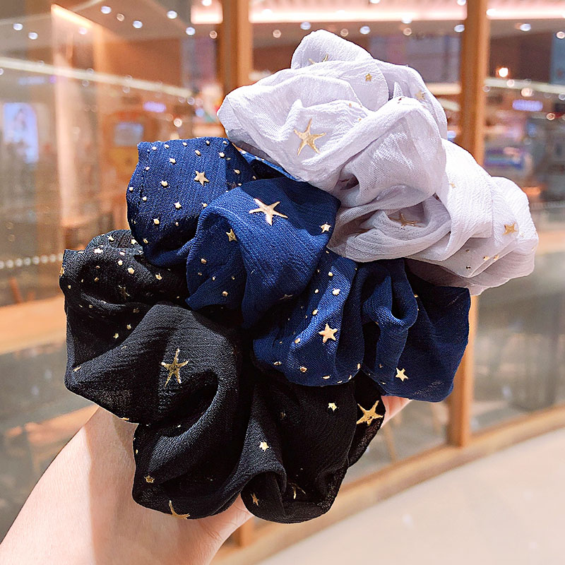 2020 New Spring Women Print Star Soft Elastic Hair Bands Ponytail Holder Scrunchie Headband Rubber Band Fashion Hair Accessories