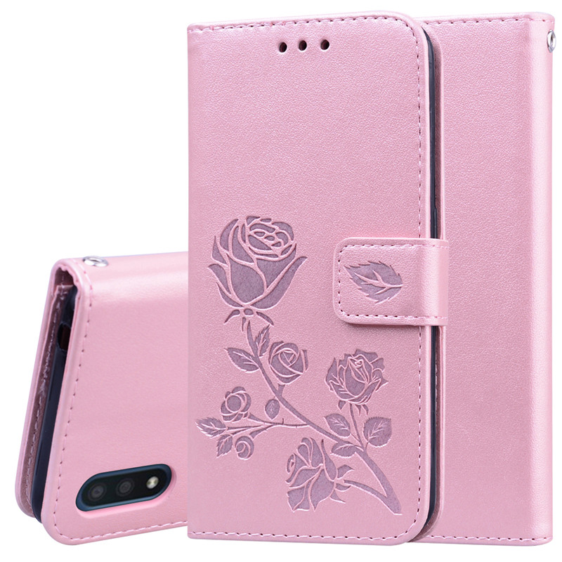 3D Flower Leather Wallet Case For Samsung Galaxy A01 Cover Flip Case For Samsung A01 A 01 SM-A015F A015G A015M Phone Etui Coques
