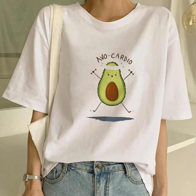 طباعة الأفوكادو الجمالية زوجين شيرت القطن لطيف الملابس للنساء Ulzzang فتاة 90s الكورية T-Sshirts هوت فام زائد حجم