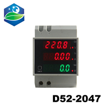 цена на D52-2047 AC 80-300V 200-450V Power Factor Energy meter Din Rail LED Voltmeter Ammeter  Active Voltage Volt Current Meter