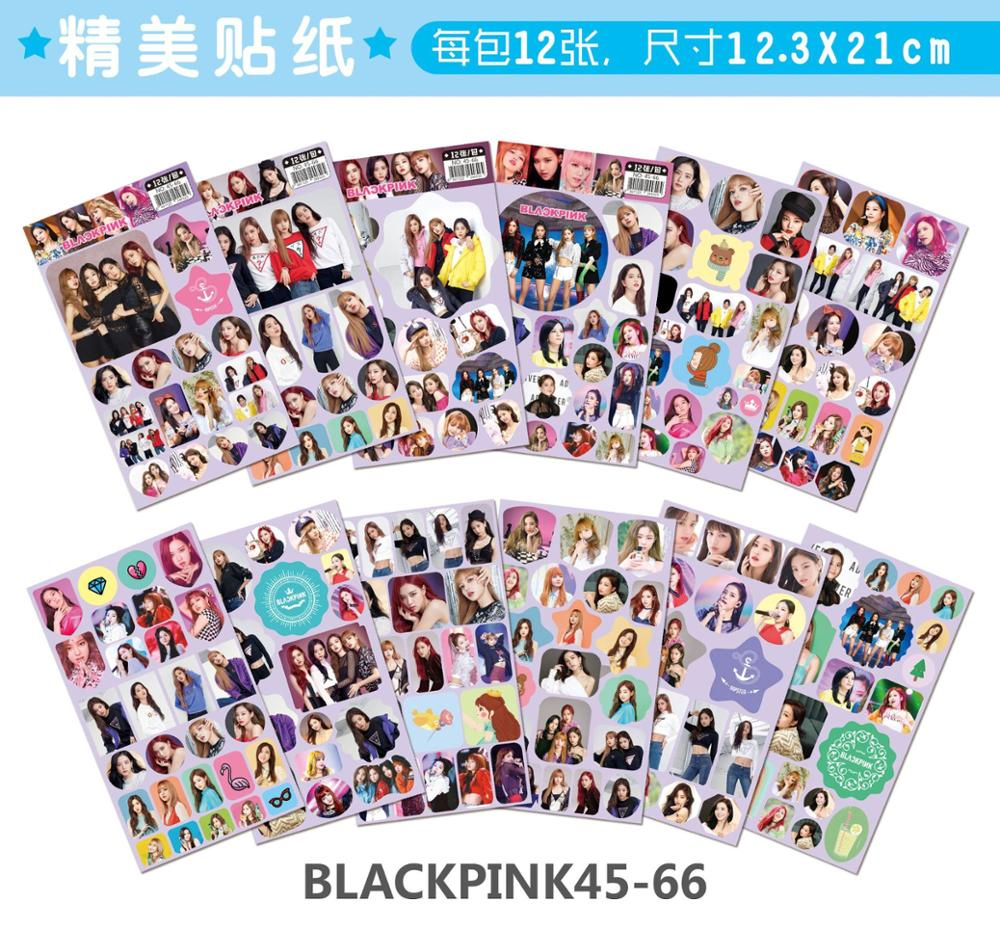 Mixed 12set/lot Kpop  TWICE GOT7 BLACKPINK Stickers Toy All Figures HD Fashion DIY Self Adhesive Hand Tear Paper Sticker Toys