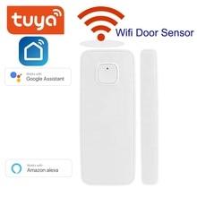 Wifi Home Alarm Tuya Smart Life WiFi Door Window Sensor Compatible With Alexa Google Home Android IOS APP
