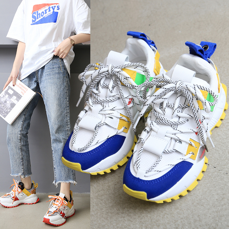 2019 New Designer Chunky Sneakers Women Street Fashion Dad Sneakers Female Tenis Thick Heel Casual Shoes Woman Chaussures Femme
