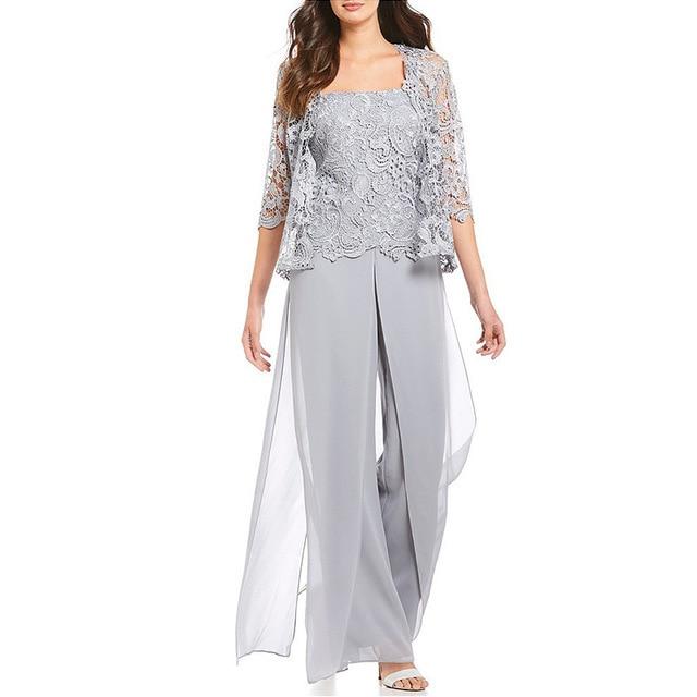 Mother Of The Bride Pant Suits With Lace Jacket Plus Size Chiffon Women Jumpsuit Pantsuits Formal Wedding Guest Wear 2 Piece Set